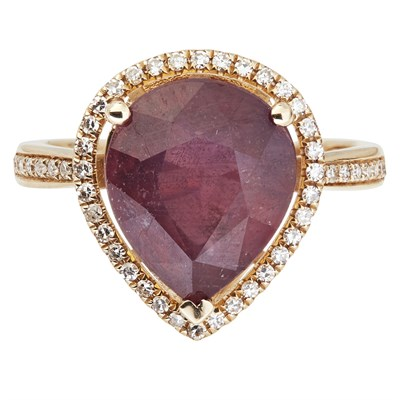 Lot 22-A ruby and diamond set ring