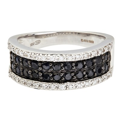 Lot 75-A black diamond set half-eternity ring