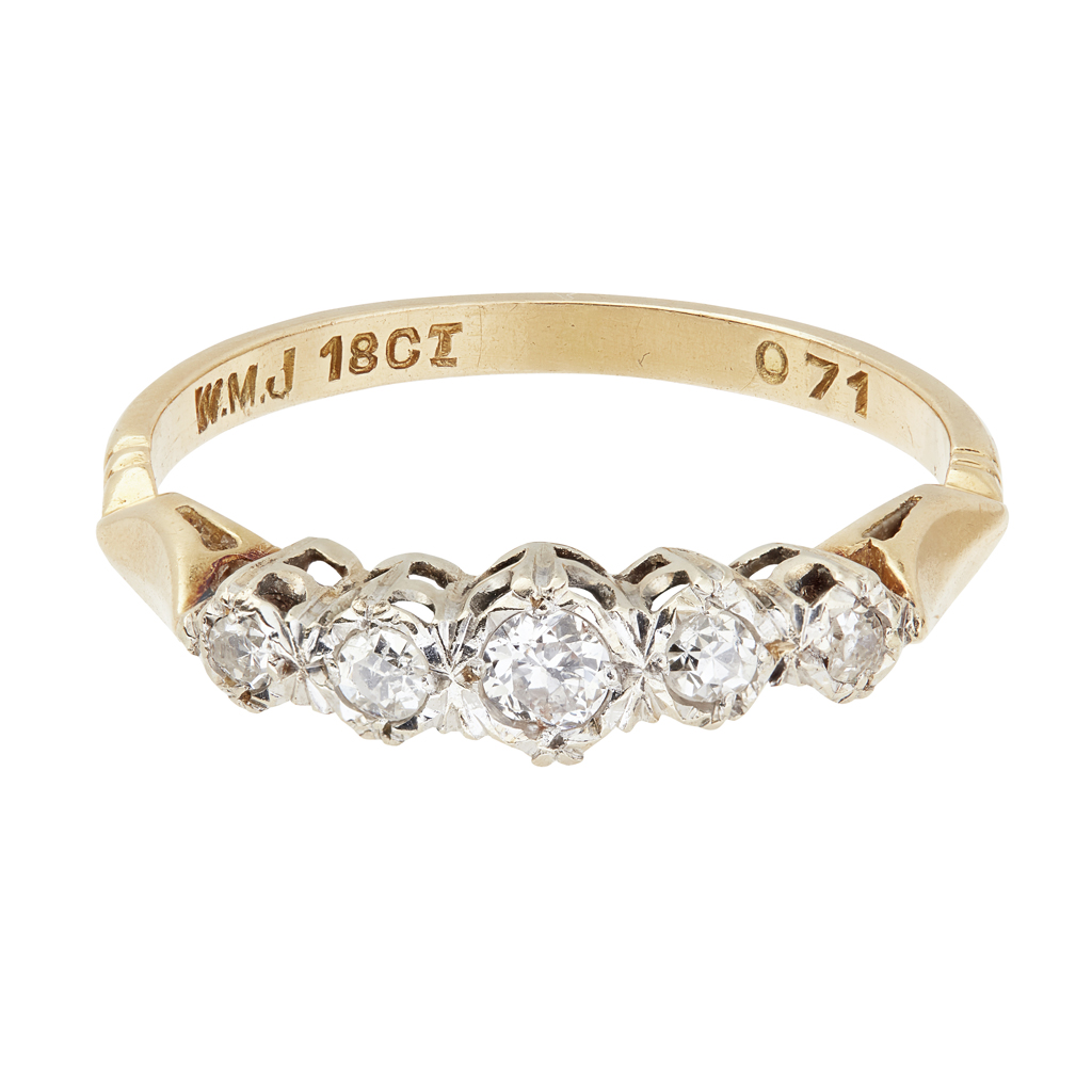 Lot 6-A five stone diamond set ring