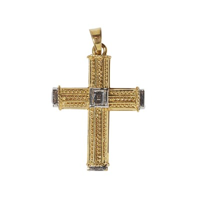 Lot 82-A multi-gem set pendant cross