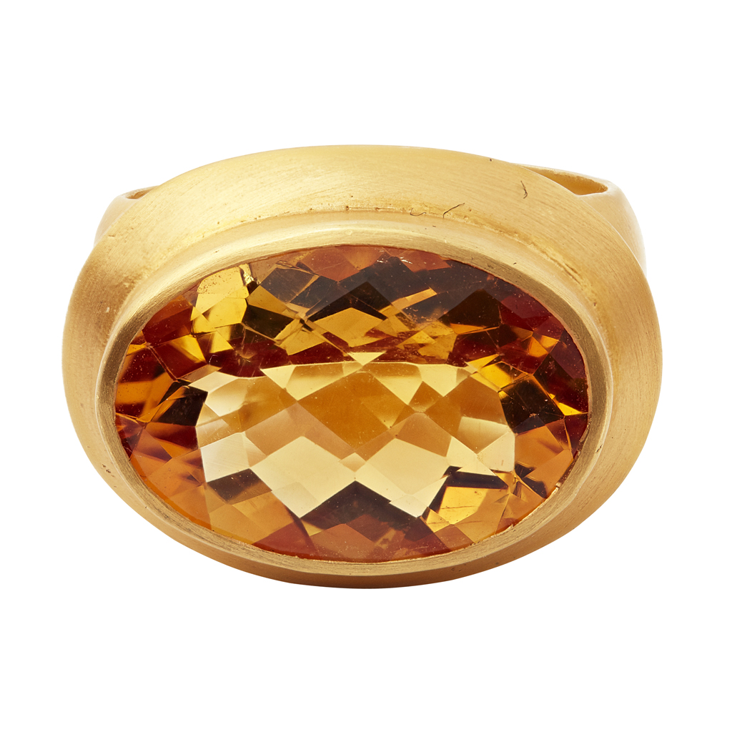 Lot 34-A citrine set cocktail ring
