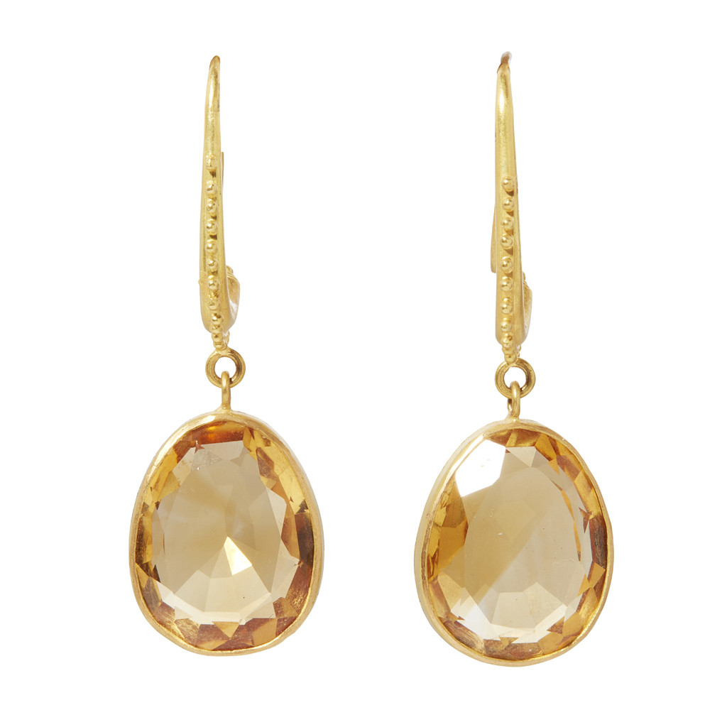 Lot 37-A pair of citrine set earrings