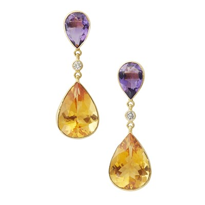 Lot 35-A pair of multi-gem set pendant earrings