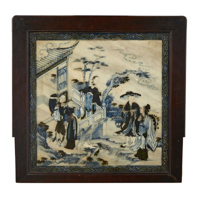 Lot 117 - PAINTED MARBLE PLAQUE