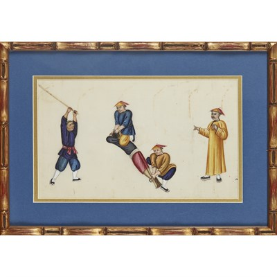 Lot 138 - SIX PITH PAPER PAINTINGS DEPICTING PUNISHMENT AND TORTURE