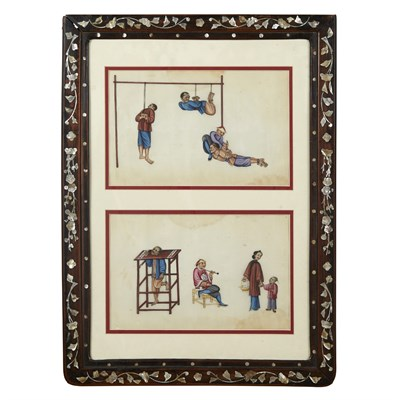 Lot 139 - TWO PITH PAPER PAINTINGS OF TORTURE SCENES