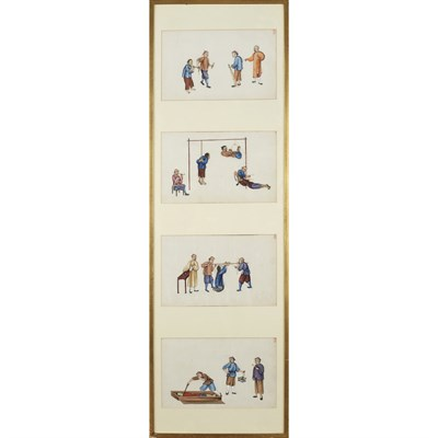 Lot 134 - FOUR PAINTINGS ON PITH PAPER DEPICTING TORTURE SCENES