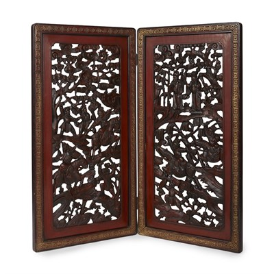 Lot 6-CARVED AND LACQUERED WOOD TWO-FOLD SCREEN