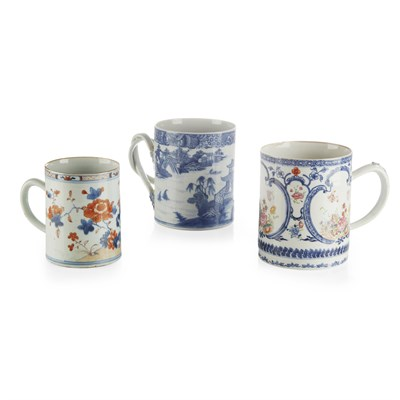 Lot 13-FIVE CHINESE EXPORT PORCELAIN TANKARDS