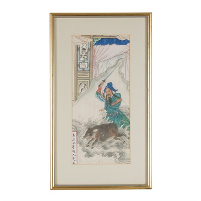 Lot 53 - SET OF SIX PAINTINGS DEPICTING FAMOUS FIGURES FROM CHINESE HISTORY