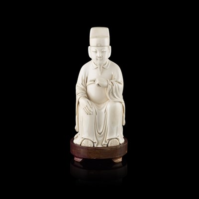 Lot 13-WELL CARVED IVORY FIGURE OF A SEATED OFFICIAL