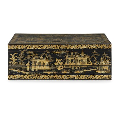 Lot 1-CANTON LACQUER LAP DESK