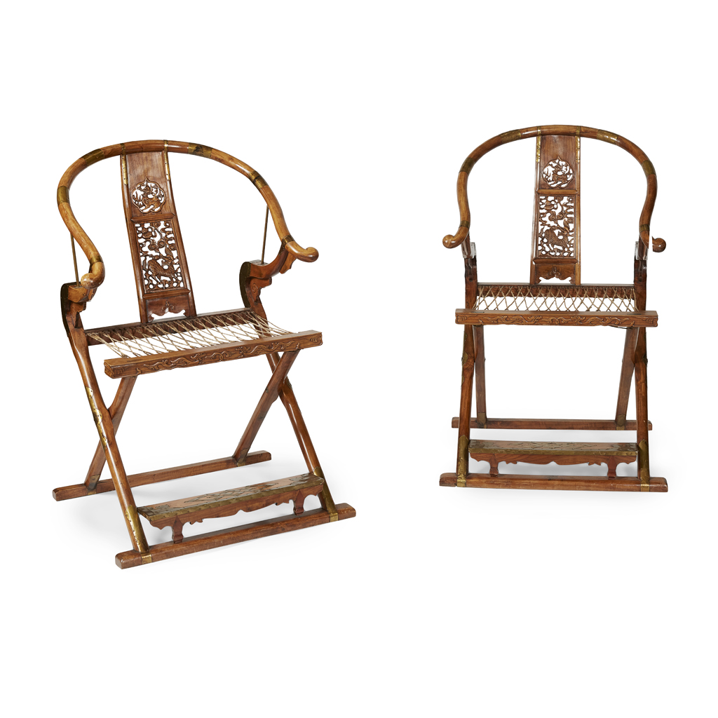 Lot 5 - PAIR OF HORSESHOE BACK FOLDING CHAIRS