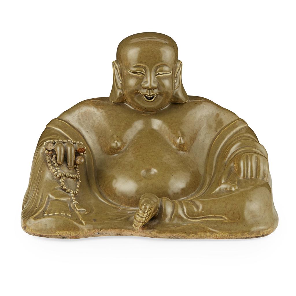 Lot 67 - TEADUST-GLAZED FIGURE OF BUDAI