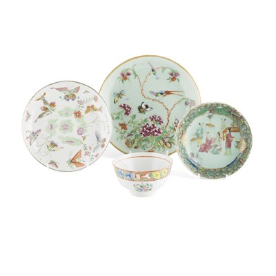 Lot 134 - ASSEMBLED GROUP OF FOUR FAMILLE ROSE ARTICLES