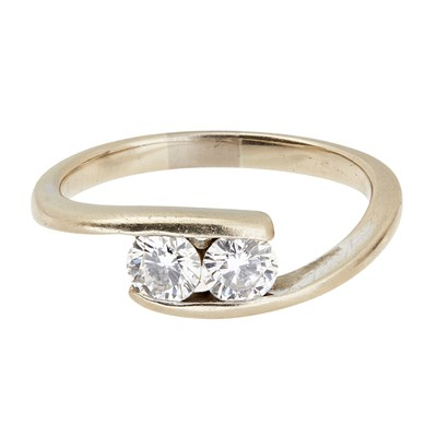 Lot 25-A two stone diamond set ring