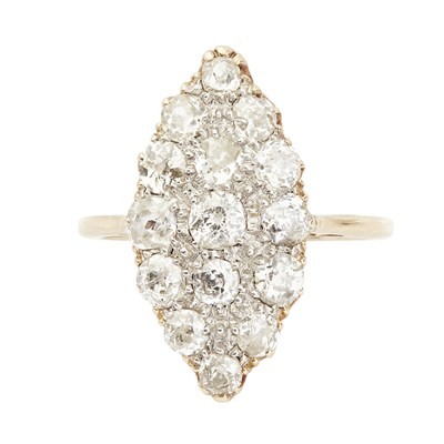 Lot 4-A diamond set navette cluster ring