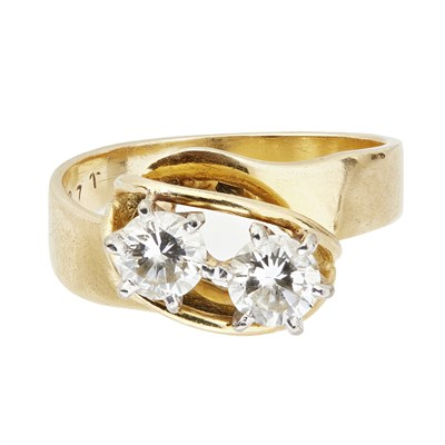 Lot 71-A two stone diamond set twist ring