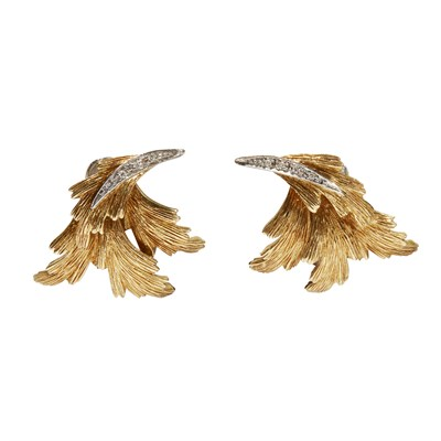 Lot 99-A pair of 18ct gold diamond set earrings