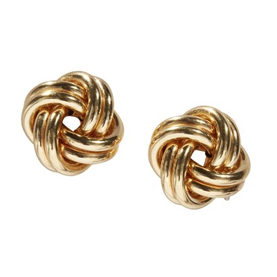 Lot 98-A pair of 18ct gold earrings
