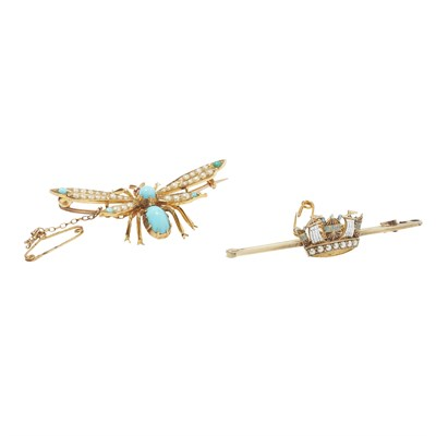 Lot 94-Two gem set brooches
