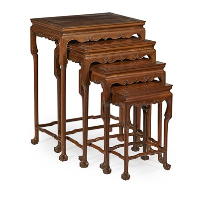 Lot 3-NEST OF FOUR WOODEN TABLES