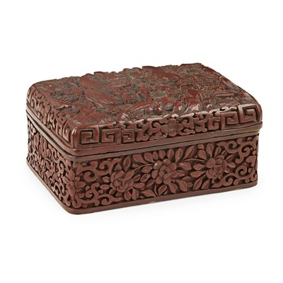Lot 17-CINNABAR LACQUER RECTANGULAR BOX AND COVER