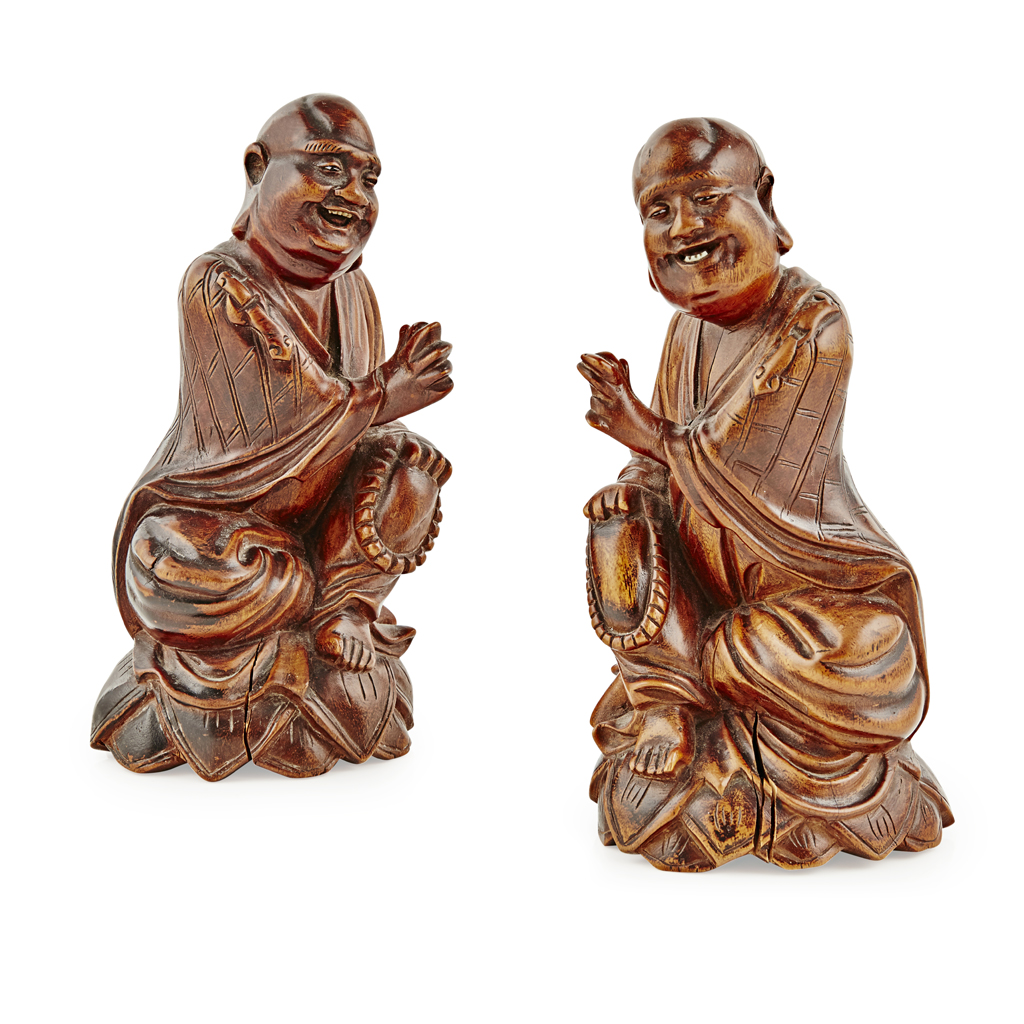 Lot 10-PAIR OF WOODEN FIGURES OF LUOHAN
