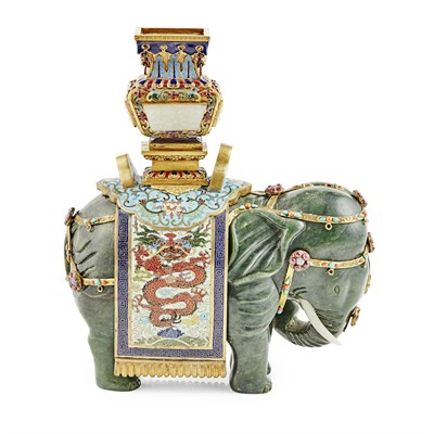 Lot 118 - CLOISONNÉ ENAMEL AND SPINACH-GREEN JADE 'ELEPHANT AND VASE' GROUP
