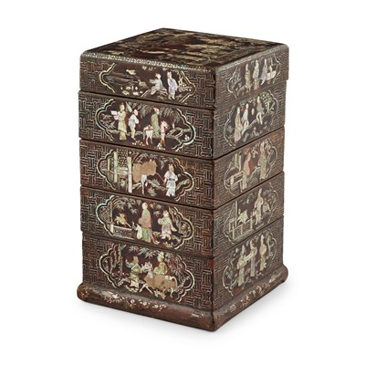Lot 5-LAC BURGAUTÉ FOUR-TIERED BOX AND COVER