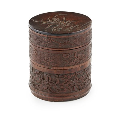 Lot 7-CARVED BAMBOO-VENEER HARDWOOD THREE-TIERED BOX AND COVER