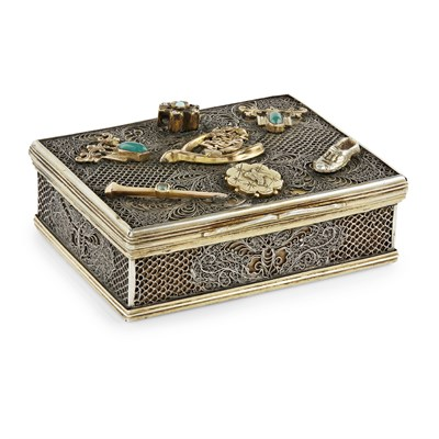 Lot 51-EXPORT SILVER FILIGREE BOX WITH RUSSIAN MOUNTS