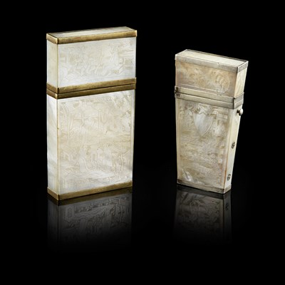 Lot 29-MOTHER-OF-PEARL CARD CASE AND ETUI
