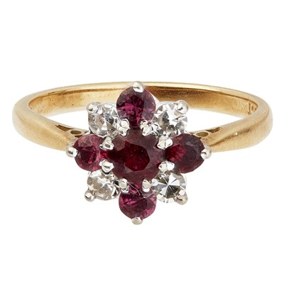 Lot 77-A ruby and diamond set cluster ring
