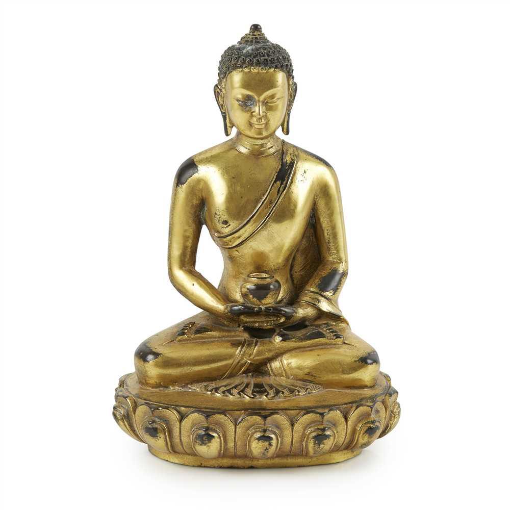 Lot 68 - GILT-BRONZE FIGURE OF MEDICINE BUDDHA