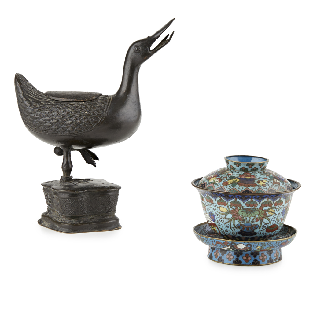 Lot 39 - BRONZE CENSER IN THE FORM OF A DUCK