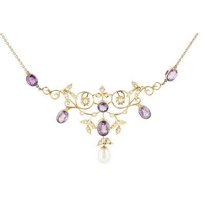 Lot 4-An Edwardian amethyst and seed pearl necklace