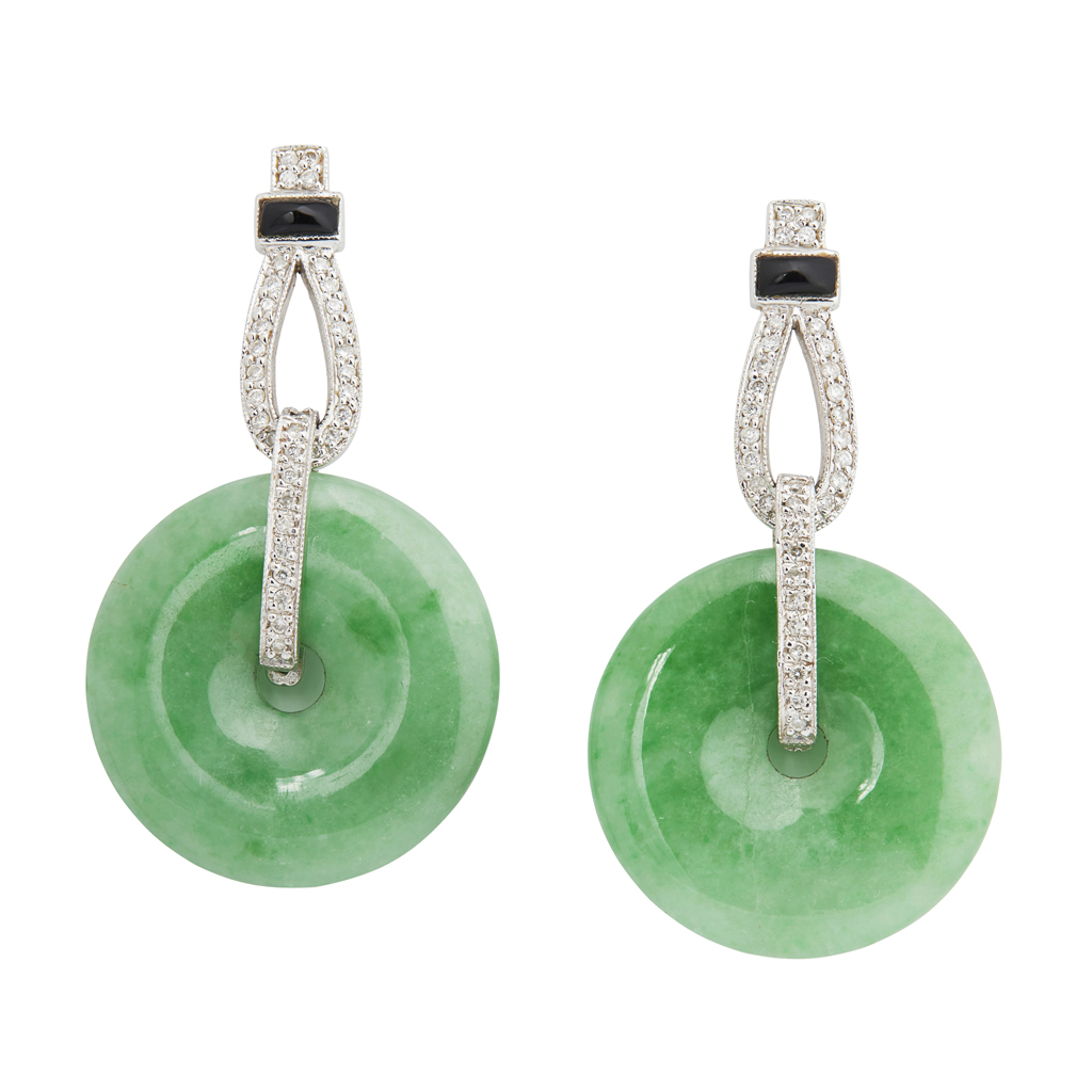 Lot 5-A pair of Art Deco style jade and diamond set earrings