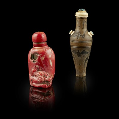 Lot 94 - IVORY-MOUNTED HORN SNUFF BOTTLE