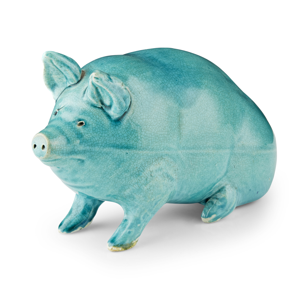 Lot 171-A SMALL SCOTTISH POTTERY PIG