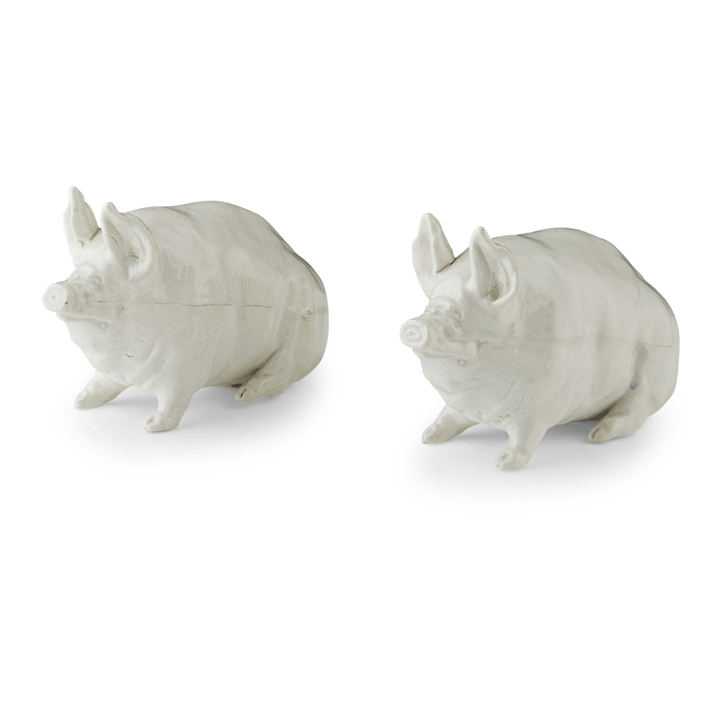 Lot 169-A PAIR OF SMALL WEMYSS WARE PIGS