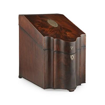Lot 1-A FINE GEORGE III SILVER-MOUNTED MAHOGANY KNIFE BOX