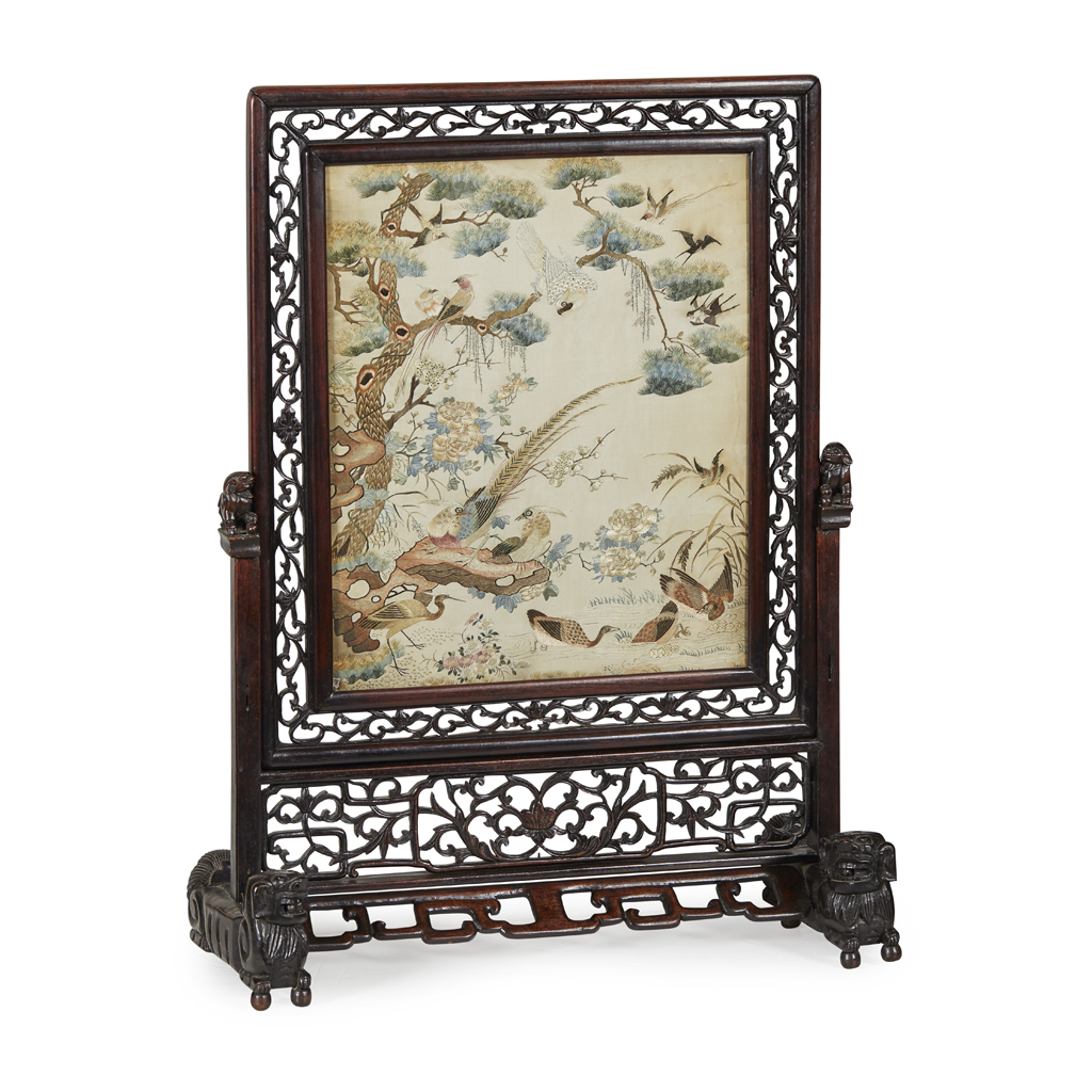 Lot 21-CANTON EMBROIDERED SILK 'HUNDRED BIRDS' PANEL
