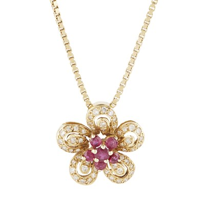 Lot 60-A ruby and diamond set floral pendant