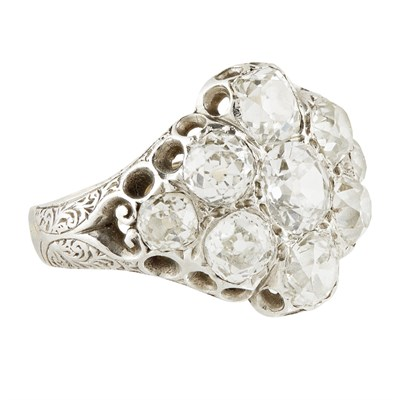 Lot 53-A late 19th century diamond cluster ring