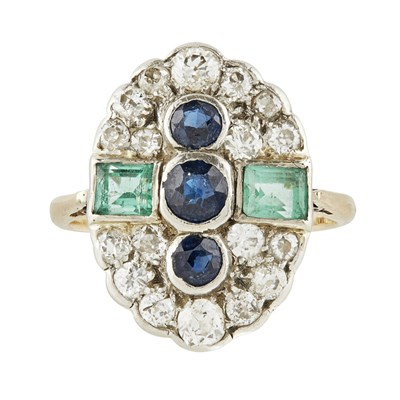 Lot 28-A multi-gem set plaque ring