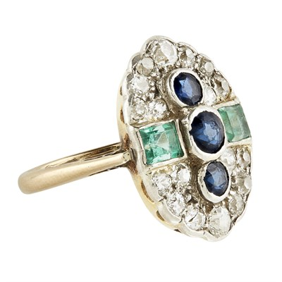 Lot 28-A multi-gem set plaque ring