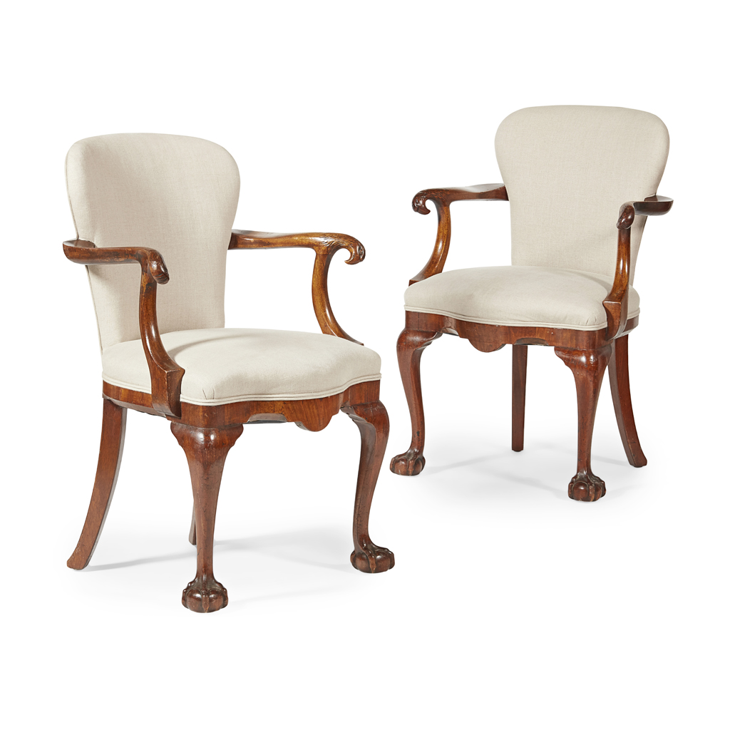 Lot 26-PAIR OF GEORGIAN REVIVAL WALNUT ARMCHAIRS