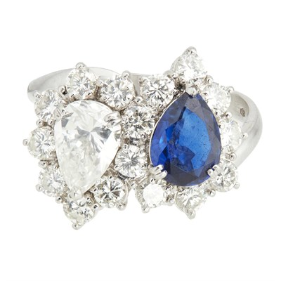 Lot 70-AMENDMENT A sapphire and diamond set cluster ring