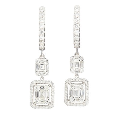 Lot 106-A pair of diamond set pendant earrings